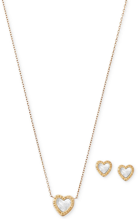MICHAEL Michael Kors Michael Kors Gold-Tone 2-Pc. Set Mother-of-Pearl Heart Pendant Necklace and Stud Earrings
