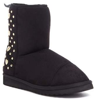 Love Moschino Studded Faux Shearling Lined Slipper Bootie