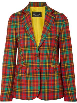 Etro Velvet-trimmed Tartan Wool Blazer - Red
