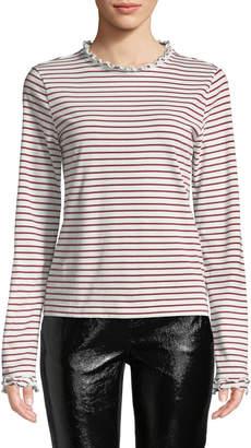 Derek Lam 10 Crosby Striped Long-Sleeve Ruffle Tee