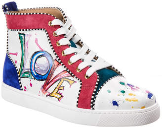 Christian Louboutin Love Leather & Suede High-Top Sneaker