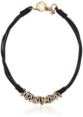 Robert Lee Morris Women's Mixed Metal Ring Frontal Leather Strand Necklace