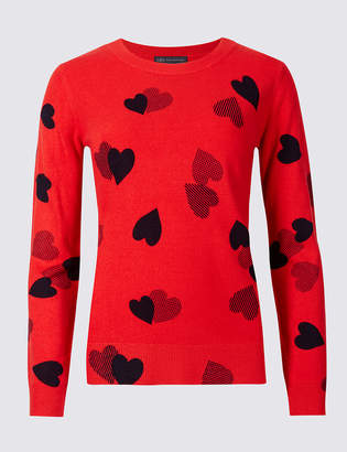 M&S Collection Heart Print Round Neck Jumper