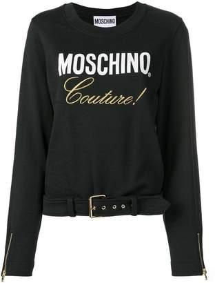 Moschino logo print belted T-shirt