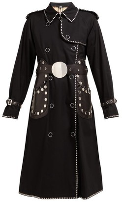 Burberry Stud Embellished Cotton Gabardine Trench Coat - Womens - Black