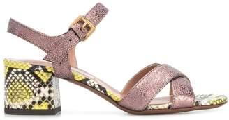 L'Autre Chose snake skin patterned sandals