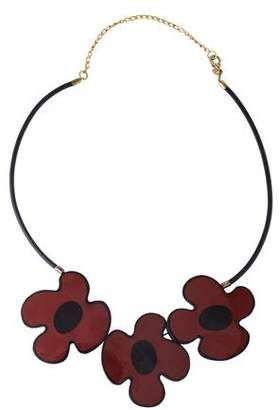 Marni Necklace with Flower in Corn Metal Leather