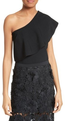 Women's Milly One-Shoulder Flounce Knit Top $285 thestylecure.com