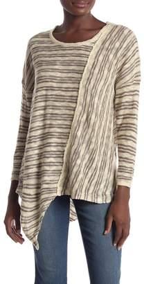 Democracy Asymmetrical Striped 3/4 Sleeve Sweater