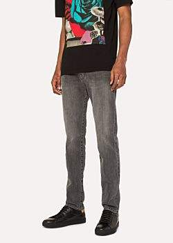 Paul Smith Men's Tapered-Fit Light-Wash Black Stretch-Denim Jeans