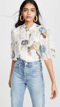 See by Chloe Printed Puff Sleeve Blouse