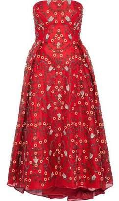 Zac Posen Strapless Embellished Silk-Chiffon Midi Dress