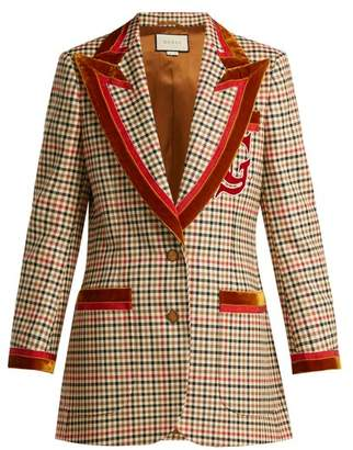 Gucci Velvet Trim Houndstooth Wool Blend Blazer - Womens - Red Multi