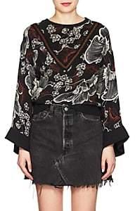 Warm Women's Floral Silk Blouse - Black