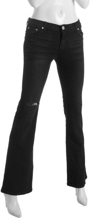 Les Halles black stretch worn & torn flare leg jeans
