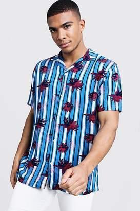 boohoo Floral Stripe Short Sleeve Revere Shirt