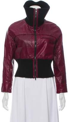 Hanley Mellon Rib-Trimmed Leather Jacket