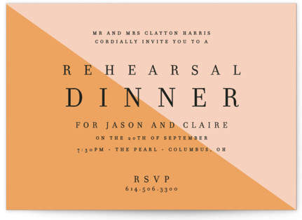 Colorblocked Dinner Rehearsal Dinner Invitations