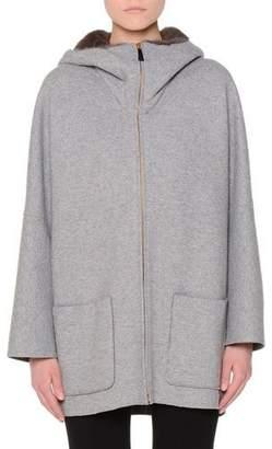 Agnona Mink-Lined Hooded Cashmere Coat