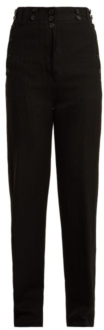 Oberon Buttoned Wool Blend Trousers - Womens - Black