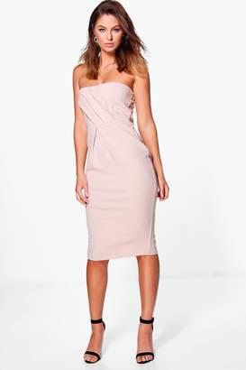 boohoo Sara Pleat Top Bandeau Midi Dress $35 thestylecure.com