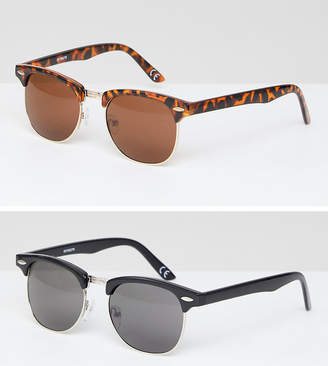 Asos DESIGN 2 PACK Classic Retro Sunglasses