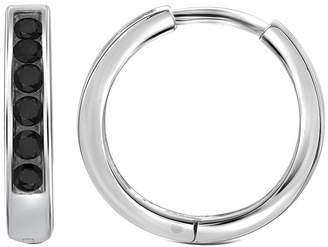 Black Diamond FINE JEWELRY 1/4 CT. T.W. Color-Enhanced Sterling Silver Hoop Earrings