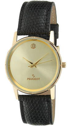 Peugeot Men's Gold Tone And Black Slim Leather Strap Watch 2043CH