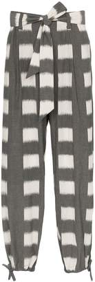 Issey Miyake Square print cotton trousers