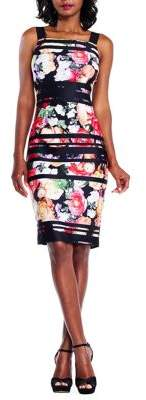Adrianna Papell Striped Botanical Printed Scuba Sheath Dress