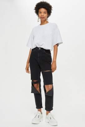 Topshop Washed Black Slash Ripped Mom Jeans