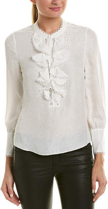 Rebecca Taylor Silk-Blend Cloque Top