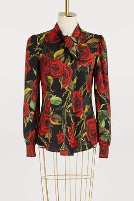Dolce & Gabbana Red Roses printed silk shirt