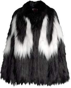 Convertible Cape Faux Fur Jacket