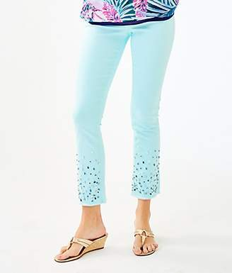 """Lilly Pulitzer 27.5"""" South Ocean Crop Flare Embellished Pant"""