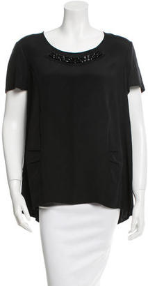 Vera Wang Lavender Label Jewel Embellished Silk Top $75 thestylecure.com