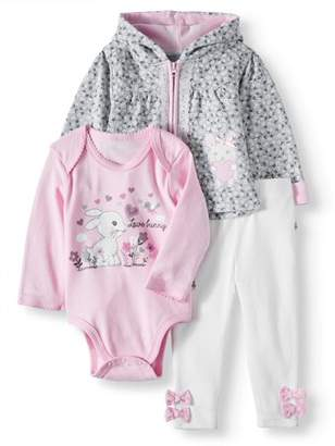 Duck Duck Goose Bodysuit, Hoodie & Pants, 3pc Outfit Set (Baby Girls)
