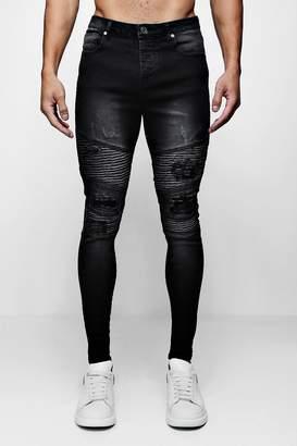 boohoo Super Skinny Distressed Biker Jeans