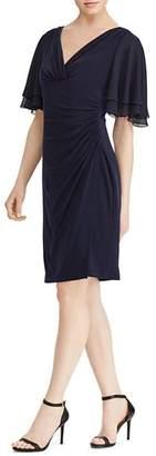 Ralph Lauren Shirred Flutter-Sleeve Dress