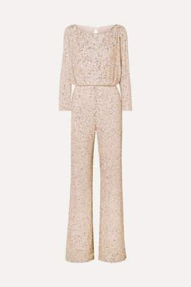 Jenny Packham Babette Embellished Gauze Jumpsuit - Beige