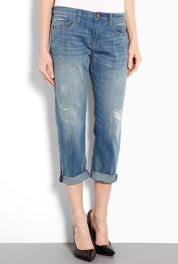 Current/Elliott Distressed Mid-rise Panhandle Boyfriend Jeans