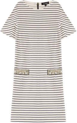 Tara Jarmon Striped Cotton Dress with Embellishment