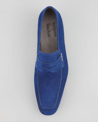Magnanni Suede Penny Loafer, Royal Blue