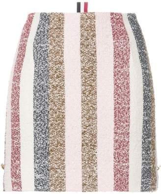 Thom Browne Notched Hem Mini Skirt In Stripe Eyelash Tweed