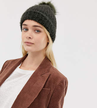 bbe33895601 New Look fluffy faux fur pom pom bobble hat in khaki