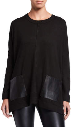 Donna Karan Faux Leather Pocket Pullover