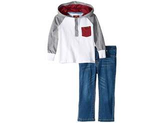 7 For All Mankind Kids Long Raglan Sleeve Heavyweight Jersey Hoodie and Denim Jeans (Toddler)