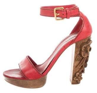 Miu Miu Carved Heel Platform Sandals