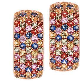 QVC Multi Color Sapphire Huggie Earrings, SterlingSilver