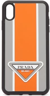 Prada Logo Stripe Iphone Xs Max Rubber Phone Case - Mens - Orange